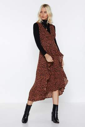 Nasty Gal Womens Gimmie Cheetah Pinafore Dress - Brown - 6, Brown