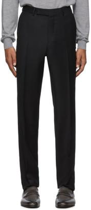 Ermenegildo Zegna Black Wool and Silk Trousers