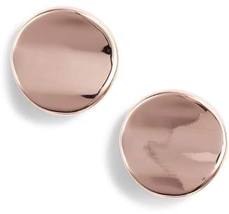 Halogen Curved Disc Stud Earrings