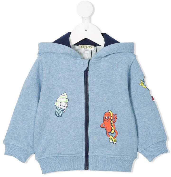 food fiesta print zip up sweatshirt