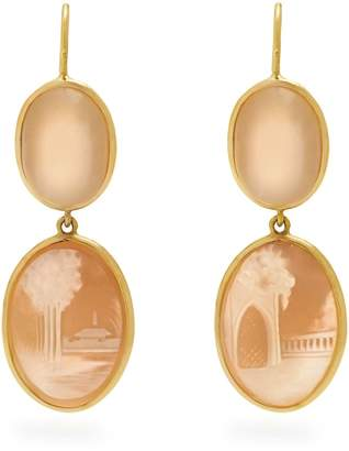 BRIGID BLANCO Moonstone, shell & yellow-gold earrings