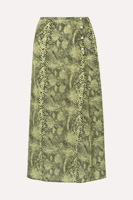 1efa00f3d1 Sandy Liang Moody Snake-print Silk Crepe De Chine Midi Skirt - Snake print