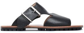 Jil Sander Navy Buckled Cutout Pebbled-leather Slides