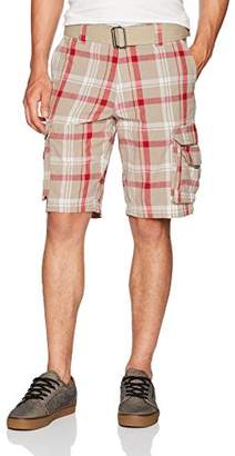 Burnside Men's Borrowed Belted Plaid Cargo Short