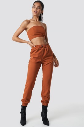 Hannalicious X Na Kd High Waist Puffy Track Pants Rust