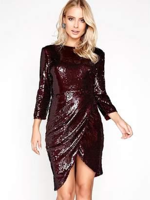 Little Mistress Sequin Wrap Front Dress