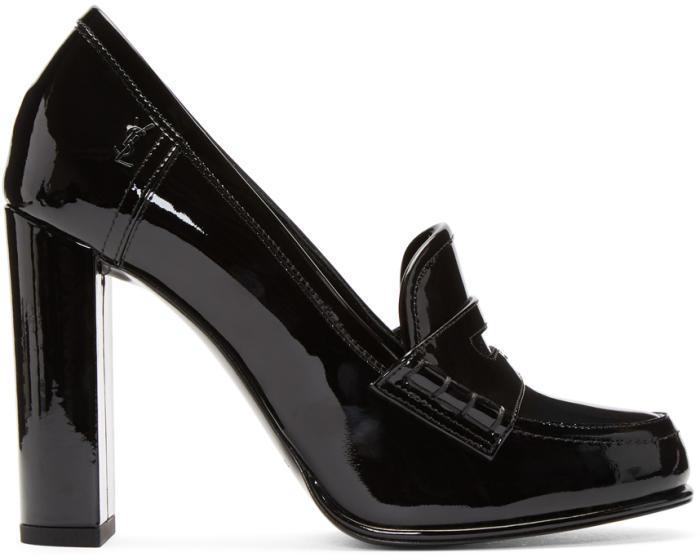 Saint Laurent Black Patent Université Loafer Heels