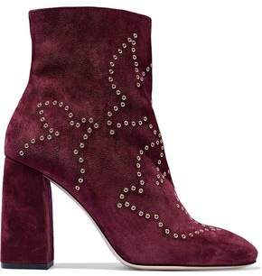 RED Valentino Eyelet-Embellished Suede Ankle Boots