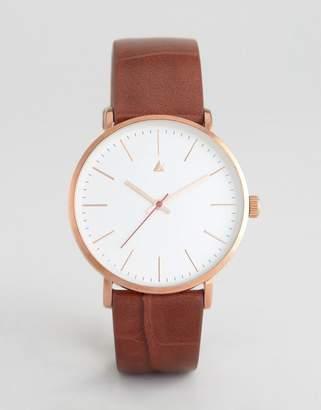 Asos DESIGN Clean Dial Rose Gold Watch