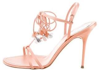 Rene Caovilla Satin T-Strap Sandals