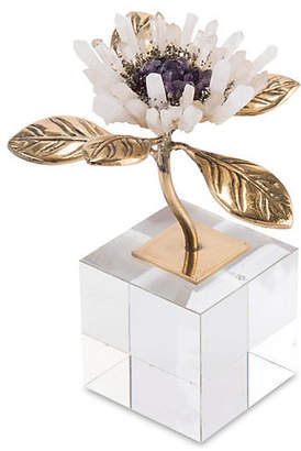 "John-Richard Collection 6"" Quartz Crystal Bloom - Brass"
