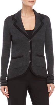 August Silk Contrast Trim Button Blazer