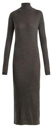 Raey Roll Neck Ribbed Fine Knit Cashmere Dress - Womens - Charcoal