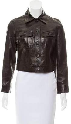 Plein Sud Jeans Leather Button-Up Jacket