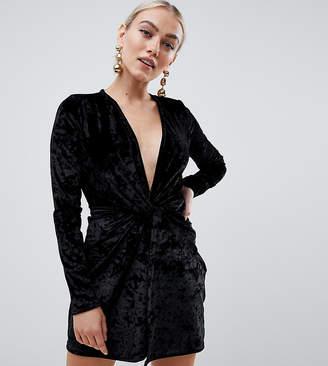 Missguided Petite velvet twist front mini dress in black