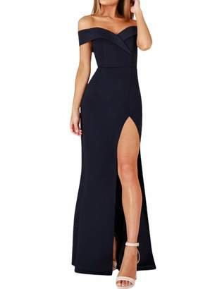 MiN New York Qiao Co. Qiao Women's Off Shoulder Strapless Side Slit Party Cocktail Dress Evening Gowns