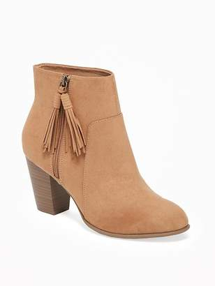 Old Navy Sueded Tassel-Zip Ankle Boots for Women
