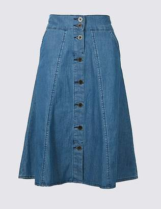 Marks and Spencer Pure Cotton Denim Midi Skirt