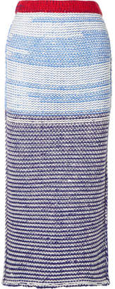 Calvin Klein Striped Wool Midi Skirt - Navy