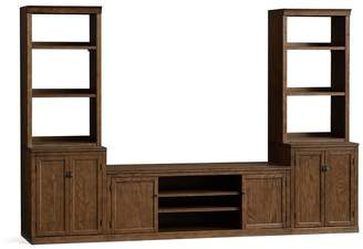 Pottery Barn Logan Large Media Suite with Cabinet Doors & Bookcase, Hewk Oak