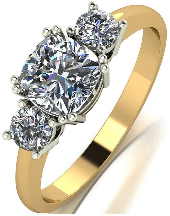 The Royal Trilogy 9ct Gold Cushion Centre 1.4ct Total Equivalent Ring