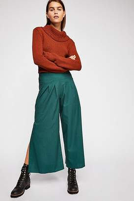 Moon River Side Slit Wide-Leg Pants
