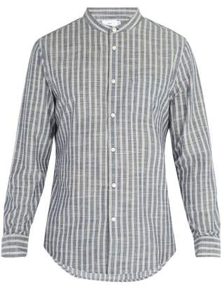 Onia Eddy Striped Mandarin Collar Shirt - Mens - Blue White