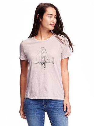 Relaxed Graphic Crew-Neck Tee for Women $12.94 thestylecure.com