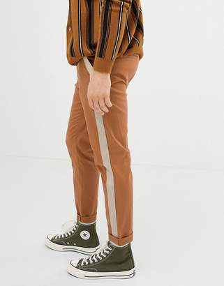 Asos Design DESIGN tapered pants in tan with side tape