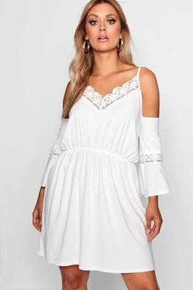 boohoo Plus Open Shoulder Crochet Dress