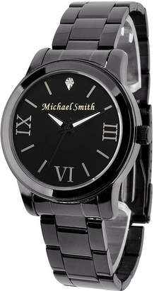 FINE JEWELRY Personalized Gun Metal Black Dial Stainless Steel Bracelet Watch