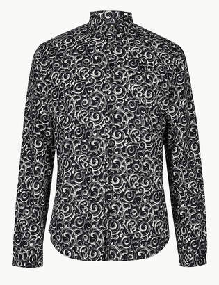Limited Edition Cotton Rich Dark Swirl Print Shirt