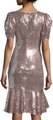 Jovani Short-Sleeve Sequin Flounce Dress