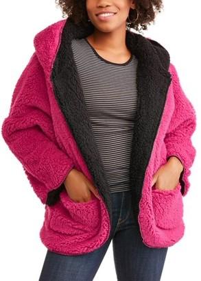 I5 Apparel Women's Reversible Hooded Fluffy Fleece Wrap
