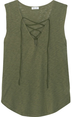 Splendid - Lace-up Micro Modal And Stretch Supima Cotton-blend Jersey Top - Army green $90 thestylecure.com