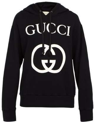 Gucci Gg Logo Cotton Hooded Sweatshirt - Mens - Black