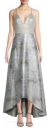 Badgley Mischka Metallic High-Low Gown