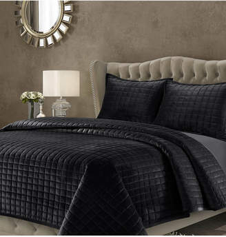 Tribeca Living Florence Velvet Solid Oversized Twin Quilt Set