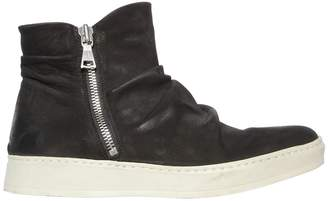John Varvatos Waxed Nubuck Leather High Top Sneakers