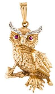14K Diamond & Ruby Owl Pendant