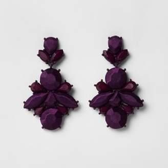 River Island Purple satin jewel drop stud earrings