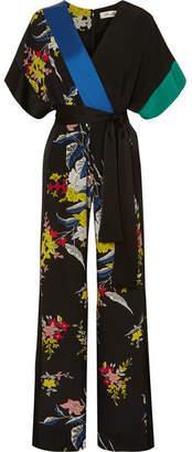 Diane von Furstenberg Wrap-effect Floral-print Silk Crepe De Chine Jumpsuit - Black