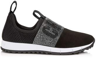 Jimmy Choo OAKLAND/F Black Mesh and Suede Trainers with Crystal Detailing