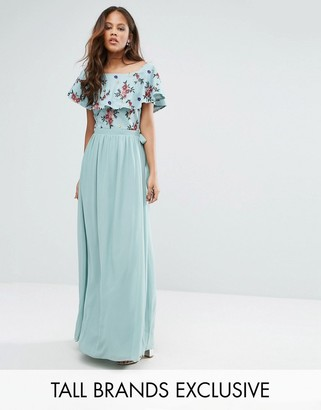 Little Mistress Tall Floral Embroidered Off Shoulder Maxi Dress $127 thestylecure.com