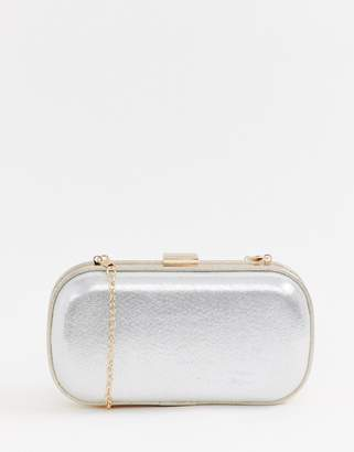 edfdf3df42d7 True Decadence Exclusive silver metallic box clutch bag