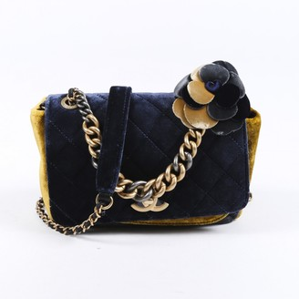 Chanel Blue Velvet Handbags