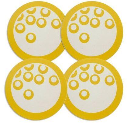Mikasa Circle Chic Yellow Coasters, Set of 4