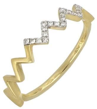 Bony Levy 18K Yellow Gold Zigzag Diamond Stack Ring - 0.09 ctw