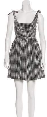 ALEXACHUNG Sleeveless Gingham Dress