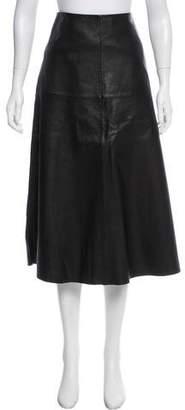 Robert Rodriguez Leather Midi Skirt